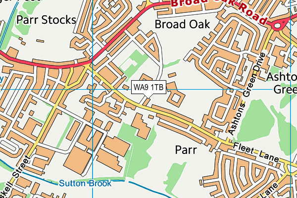 Lansbury Bridge School map (WA9 1TB) - OS VectorMap District (Ordnance Survey)