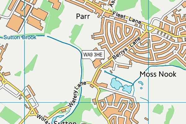 St Cuthbert's Catholic High School map (WA9 3HE) - OS VectorMap District (Ordnance Survey)
