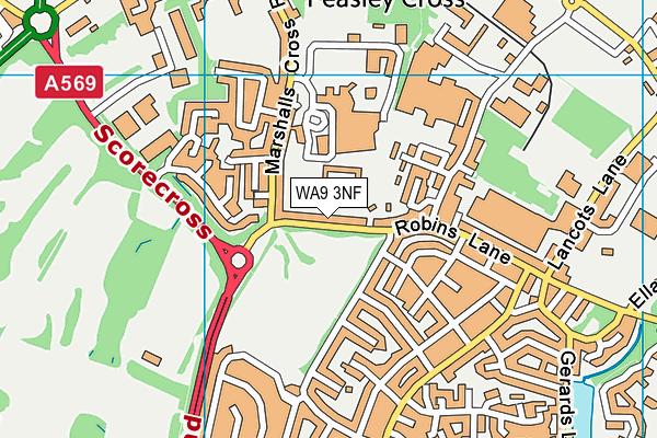 Robins Lane Community Primary School map (WA9 3NF) - OS VectorMap District (Ordnance Survey)