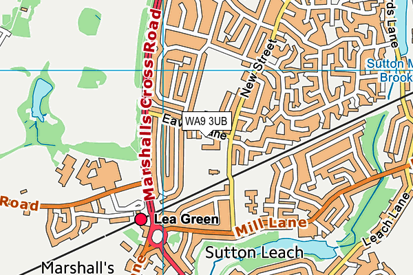 WA9 3UB map - OS VectorMap District (Ordnance Survey)