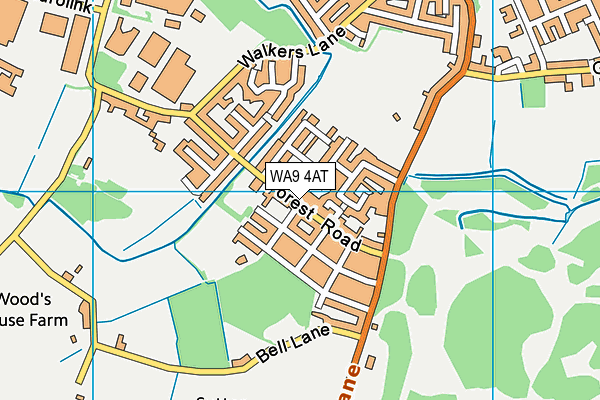 Sutton Manor Primary School map (WA9 4AT) - OS VectorMap District (Ordnance Survey)