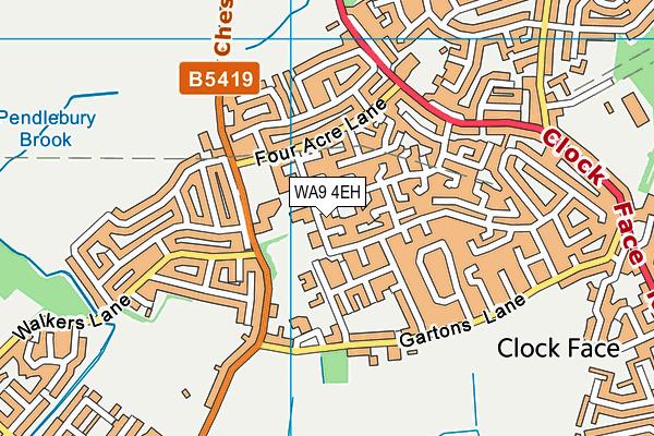 WA9 4EH map - OS VectorMap District (Ordnance Survey)