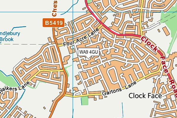 WA9 4GU map - OS VectorMap District (Ordnance Survey)