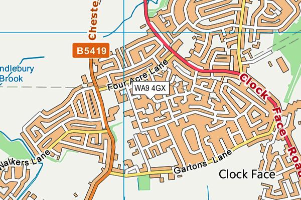 WA9 4GX map - OS VectorMap District (Ordnance Survey)