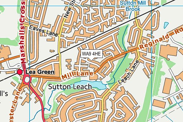 WA9 4HE map - OS VectorMap District (Ordnance Survey)