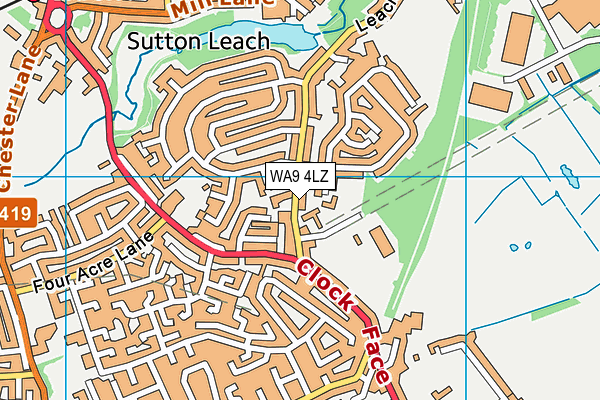Willow Tree Primary School map (WA9 4LZ) - OS VectorMap District (Ordnance Survey)