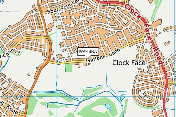WA9 4RA map - OS VectorMap District (Ordnance Survey)