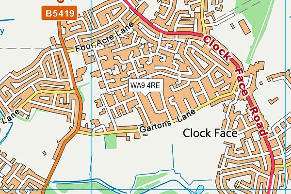 WA9 4RE map - OS VectorMap District (Ordnance Survey)
