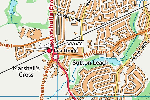 WA9 4TS map - OS VectorMap District (Ordnance Survey)