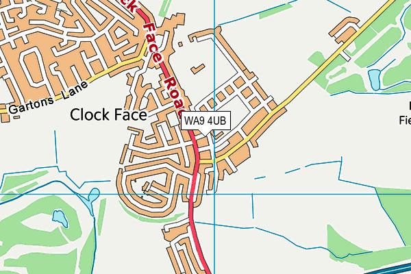 WA9 4UB map - OS VectorMap District (Ordnance Survey)