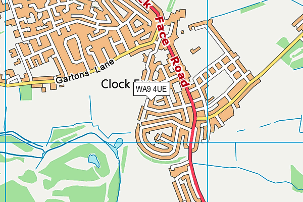 WA9 4UE map - OS VectorMap District (Ordnance Survey)