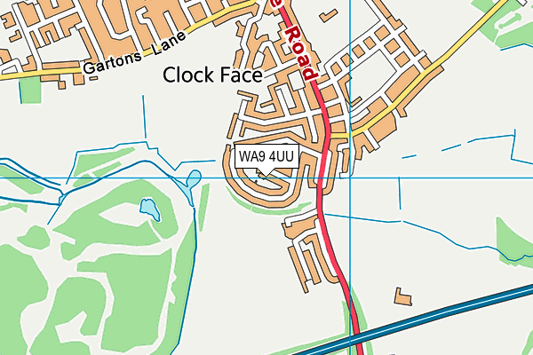 WA9 4UU map - OS VectorMap District (Ordnance Survey)