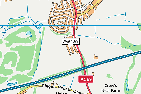 WA9 4UW map - OS VectorMap District (Ordnance Survey)