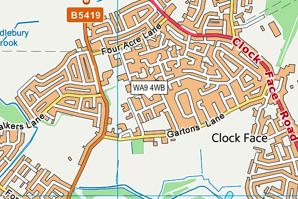 WA9 4WB map - OS VectorMap District (Ordnance Survey)