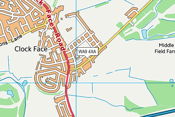WA9 4XA map - OS VectorMap District (Ordnance Survey)
