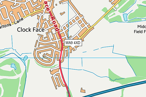 WA9 4XD map - OS VectorMap District (Ordnance Survey)