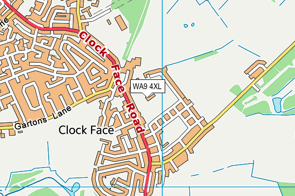Clockface Miners Welfare And Recreation Club map (WA9 4XL) - OS VectorMap District (Ordnance Survey)