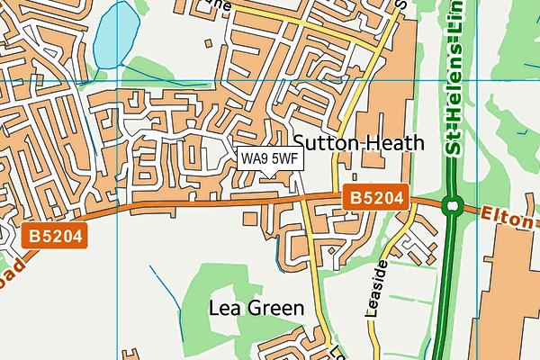 WA9 5WF map - OS VectorMap District (Ordnance Survey)