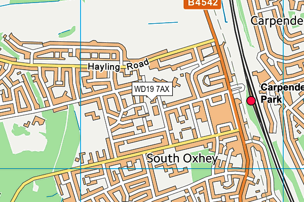 The Centre South Oxhey map (WD19 7AX) - OS VectorMap District (Ordnance Survey)