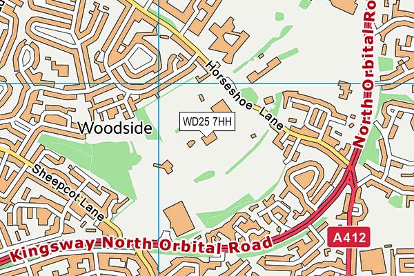 Watford Woodside Leisure Centre map (WD25 7HH) - OS VectorMap District (Ordnance Survey)
