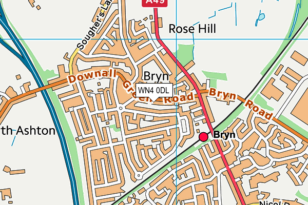 Bryn St Peter's CofE Primary School map (WN4 0DL) - OS VectorMap District (Ordnance Survey)