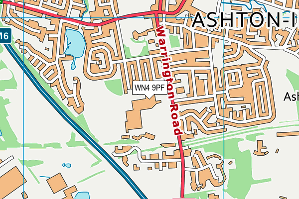 St Edmund Arrowsmith Catholic High School, Ashton-in-Makerfield map (WN4 9PF) - OS VectorMap District (Ordnance Survey)