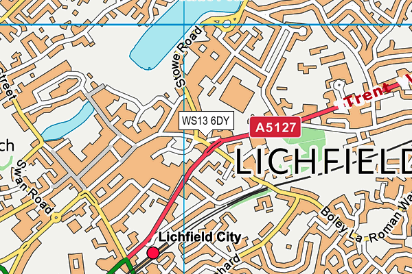 WS13 6DY map - OS VectorMap District (Ordnance Survey)
