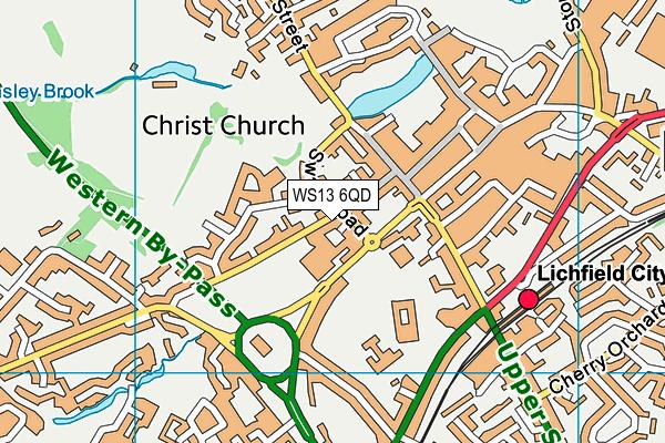 WS13 6QD map - OS VectorMap District (Ordnance Survey)