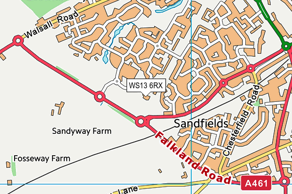WS13 6RX map - OS VectorMap District (Ordnance Survey)