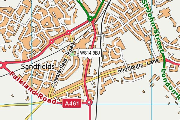 WS14 9BJ map - OS VectorMap District (Ordnance Survey)