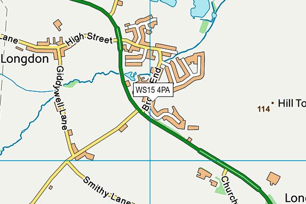 WS15 4PA map - OS VectorMap District (Ordnance Survey)