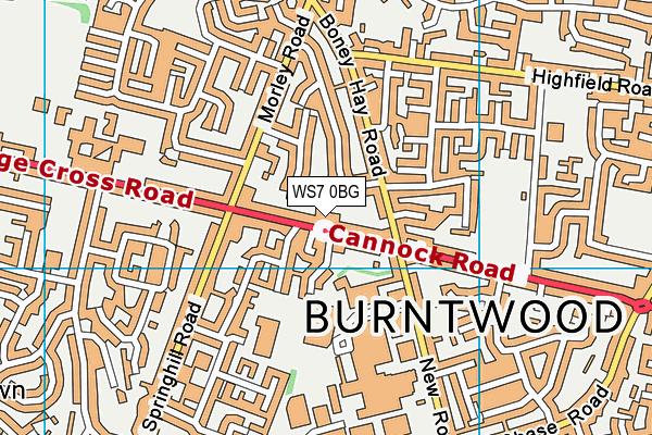 WS7 0BG map - OS VectorMap District (Ordnance Survey)