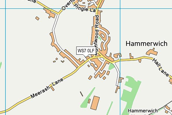 WS7 0LF map - OS VectorMap District (Ordnance Survey)