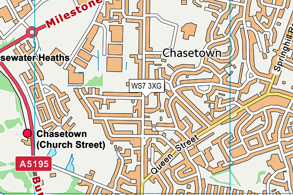 WS7 3XG map - OS VectorMap District (Ordnance Survey)