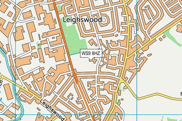 Leighswood School map (WS9 8HZ) - OS VectorMap District (Ordnance Survey)