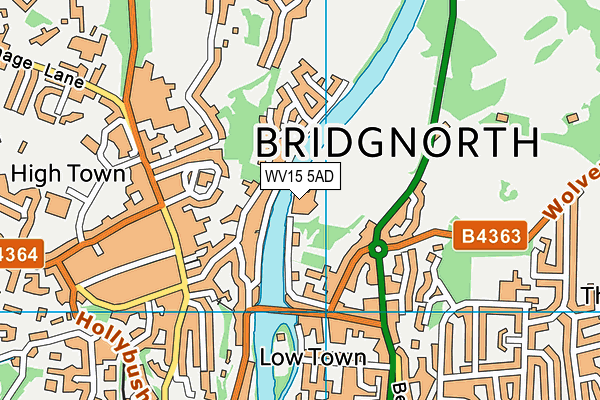 Edgar Davies Ground (Bridgnorth Rfc) map (WV15 5AD) - OS VectorMap District (Ordnance Survey)