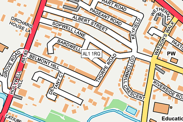 AL1 1RQ map - OS OpenMap – Local (Ordnance Survey)