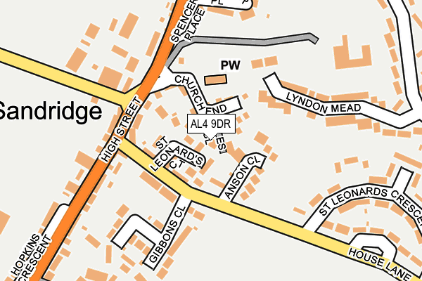 AL4 9DR map - OS OpenMap – Local (Ordnance Survey)