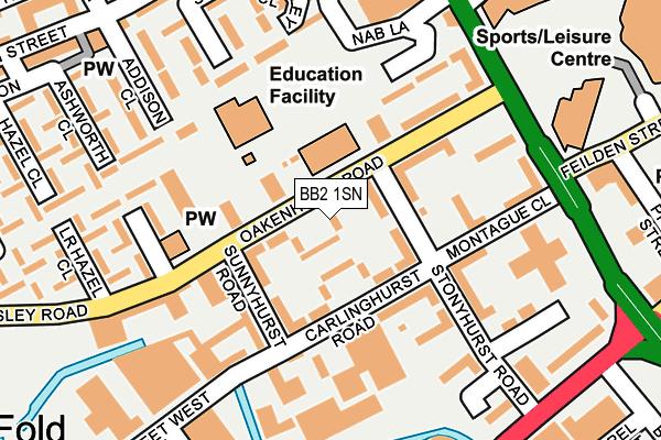 BB2 1SN map - OS OpenMap – Local (Ordnance Survey)