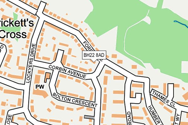BH22 8AD map - OS OpenMap – Local (Ordnance Survey)