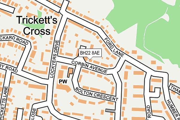 BH22 8AE map - OS OpenMap – Local (Ordnance Survey)