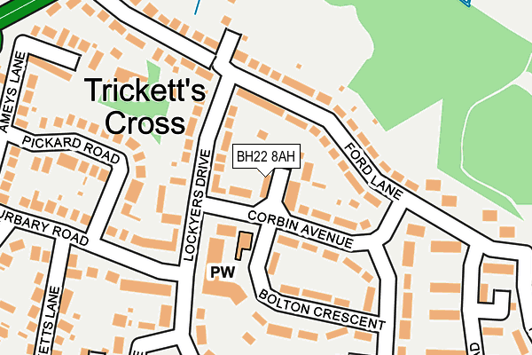 BH22 8AH map - OS OpenMap – Local (Ordnance Survey)