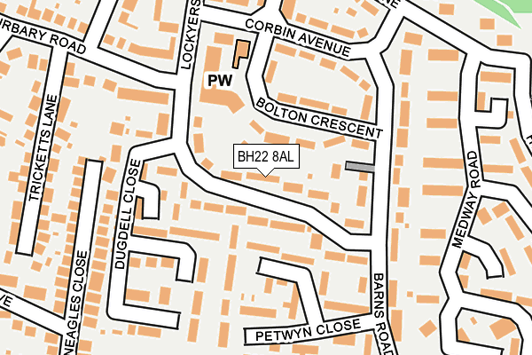 BH22 8AL map - OS OpenMap – Local (Ordnance Survey)