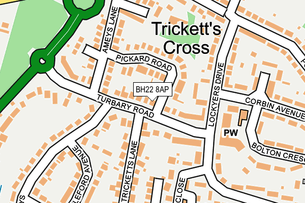BH22 8AP map - OS OpenMap – Local (Ordnance Survey)