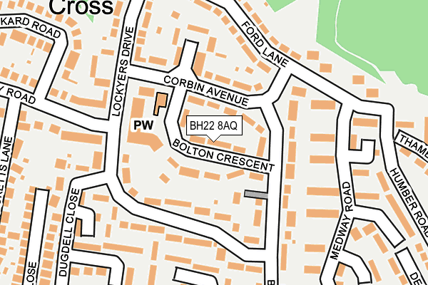 BH22 8AQ map - OS OpenMap – Local (Ordnance Survey)