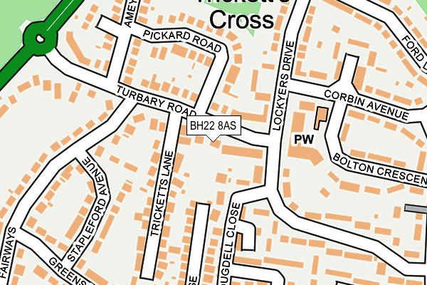 BH22 8AS map - OS OpenMap – Local (Ordnance Survey)