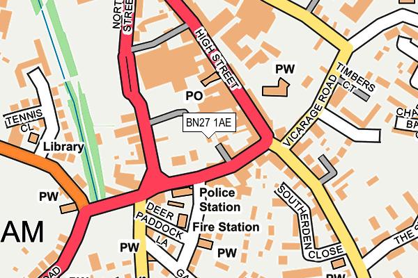 BN27 1AE map - OS OpenMap – Local (Ordnance Survey)