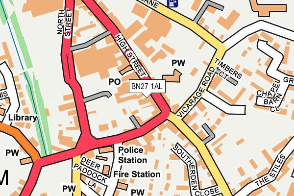 BN27 1AL map - OS OpenMap – Local (Ordnance Survey)