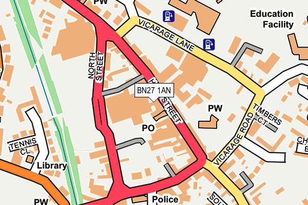 BN27 1AN map - OS OpenMap – Local (Ordnance Survey)