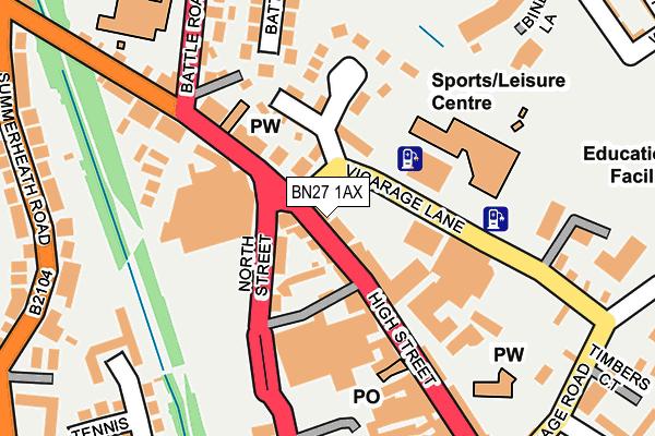 BN27 1AX map - OS OpenMap – Local (Ordnance Survey)